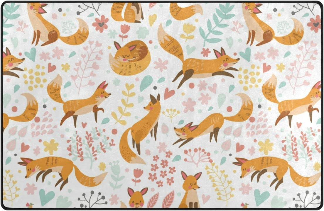 Yochoice Non-slip Area Rugs Home Decor, Retro Cute Cartoon Fox with Flowers Floor Mat Living Room Bedroom Carpets Doormats 60 x 39 inches