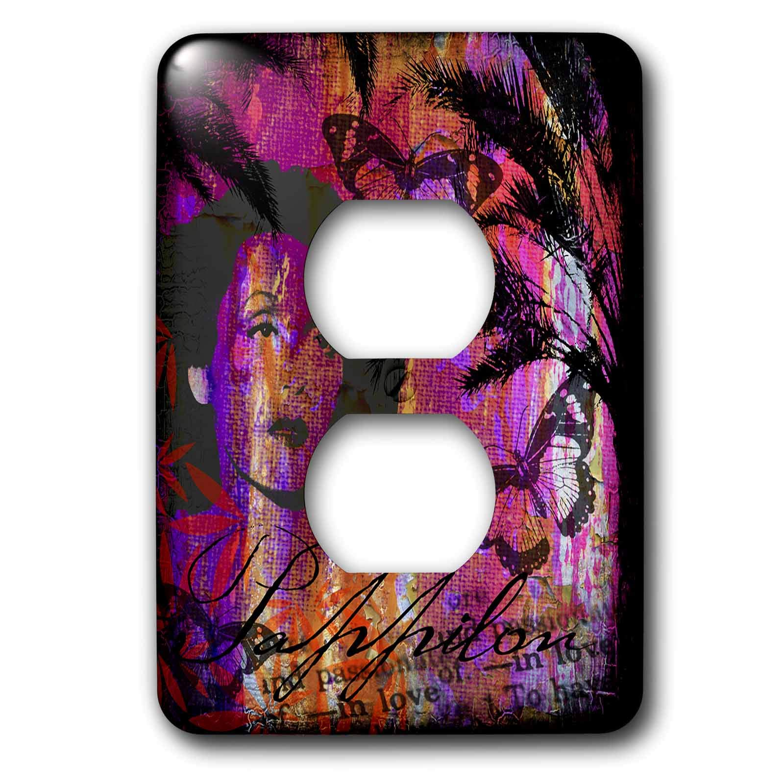3dRose Andrea Haase Art Illustration - Nostalgic Women With Butterflies Mixed Media Art - Light Switch Covers - 2 plug outlet cover (lsp_288982_6)