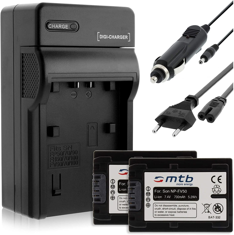 NP-FV50 per Sony HDR-CX155 Batteria+Caricatore USB CX160 CX190 CX180