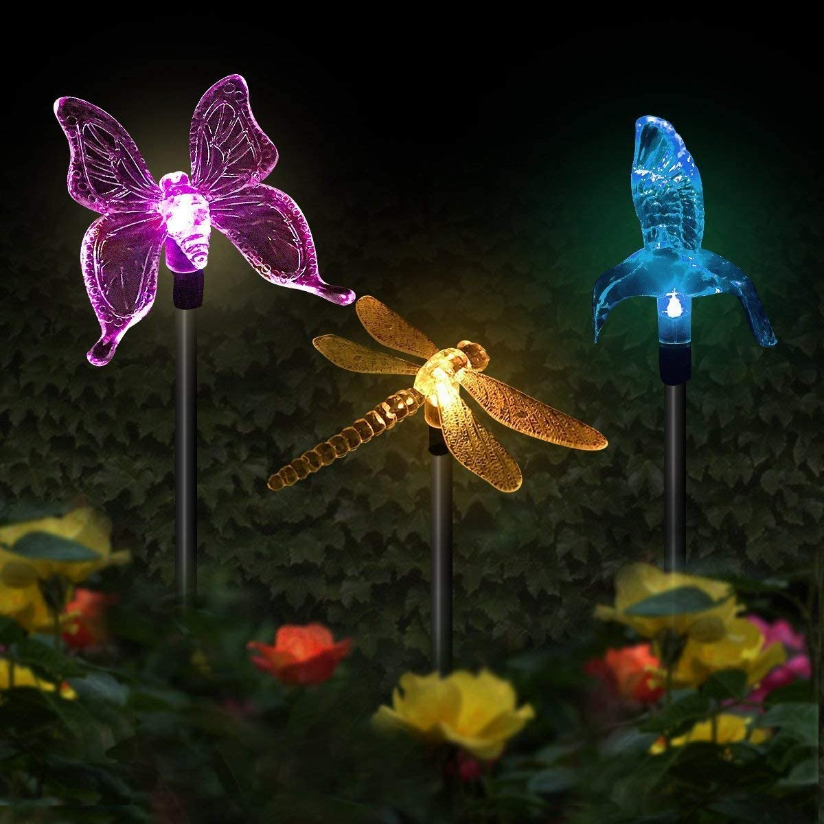 Butterfly Solar Garden Lights, 3 Pack Hummingbird Dragonfly Solar Garden Stake Light, Multi-Color Changing Solar Powered Decorative Landscape Lighting for Outdoor Path, Yard, Lawn, Patio
