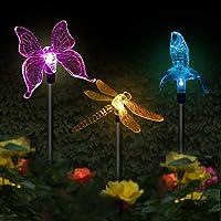 Solar Garden Lights, 3 Pack Solar Garden Stake Light, Multi-Color Changing Solar Powered Decorative Landscape Lighting…