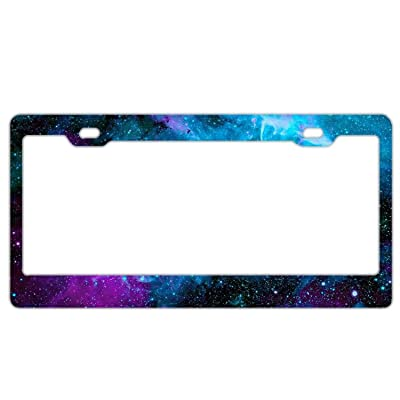 Customized Personalized Stainless Steel License Plate Frame Holder, Decorative License Plate Frame Beautiful Galaxy Space: Clothing