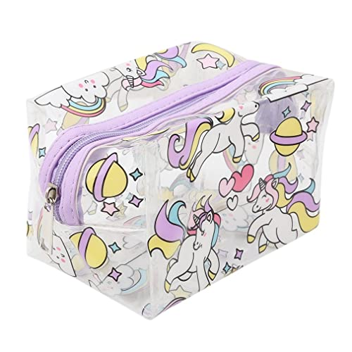 Lalang Unicorn-style Make Up Bag Transparent Cosmetic Pouch Cute Wash Bag Toiletry Beauty Organiser (blue)