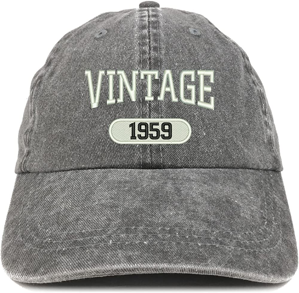 Trendy Apparel Shop Vintage 1959 Embroidered 61st Birthday Soft Crown Washed Cotton Cap