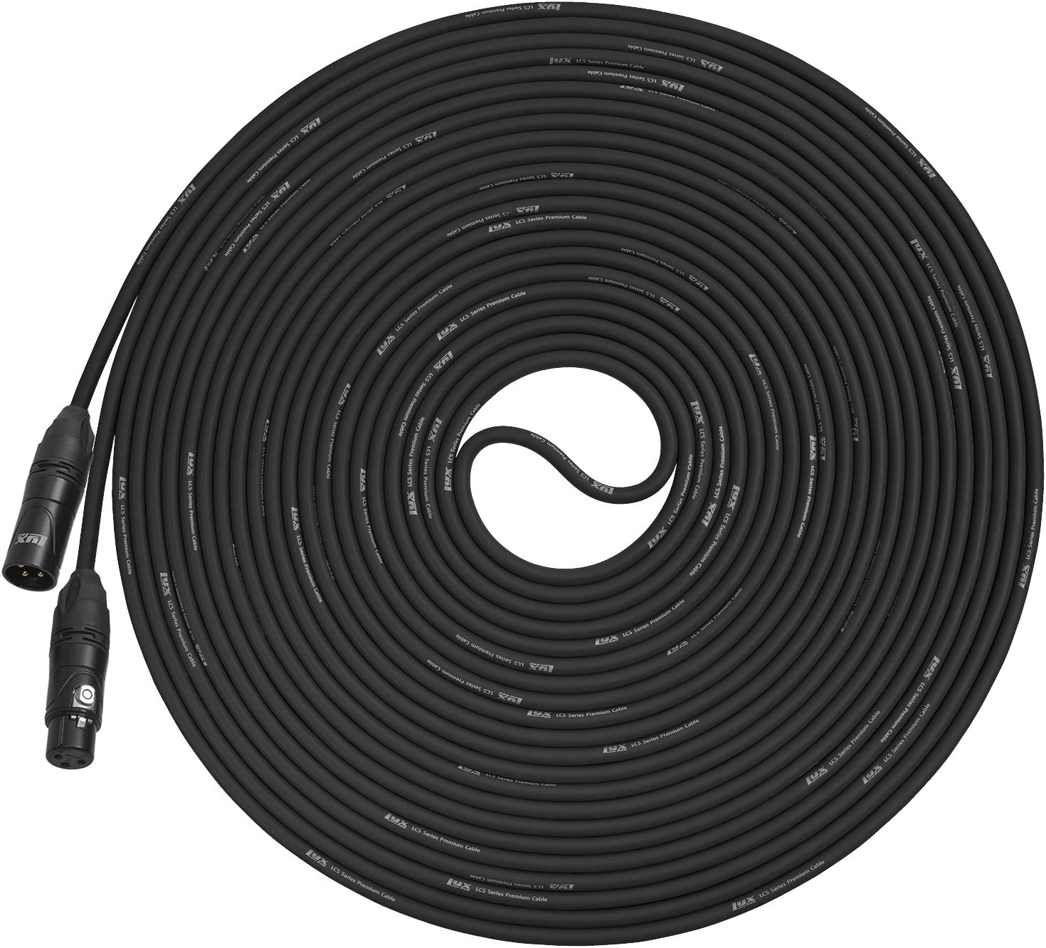 LyxPro Quad Series 25 ft XLR 4-Conductor Star Quad Balanced Microphone Cable for High End Quality and Sound Clarity Extreme Low Noise Black