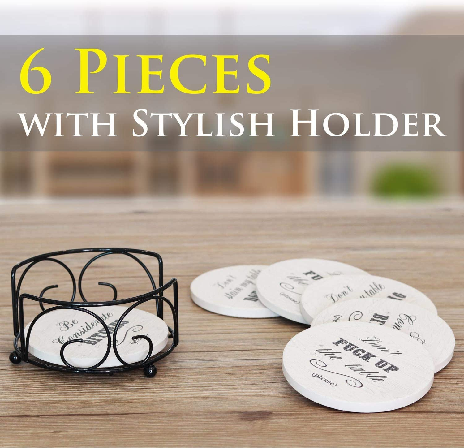 Women Housewarming Man Cave Decor Hostess Gifts Ideas Coasters for Drinks Absorbent Men Holiday Party Absorbing Stone Coaster with Holder Present for Friends 6 Pcs Novelty Gift Set Birthday