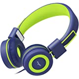Elecder Kids Headphones Volume Limiting with Microphone for Children, Toddler, Girls, Boys, Teens, Adults, Foldable Adjustable Over Ear Headsets for iPad Cellphones Computer MP3/4, i37(Blue/Green)