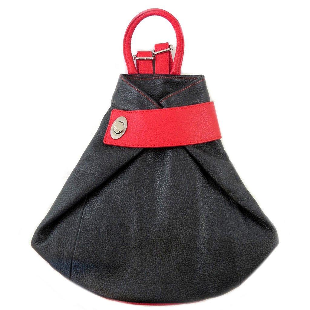 Les Trésors De Lily [P9481] - Mochila de cuero hecha a mano Soleil Du Sud negro rojo - 34.5x34x12.5 cm.: Amazon.es: Equipaje
