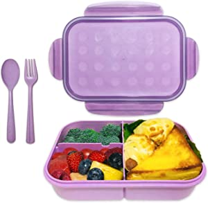 Bento Box, ASYH Leak Proof 3 Compartment Lunch Box Reusable Lunch Dinner Containers with Fork Spoon for Adults Kids School Office Food Grade BPA Free Microwave Safe (Purple-1150ML)