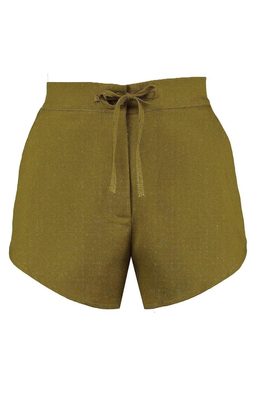 YourPrimeOutlet Olive Womens Dianna Woven Curve Hem Shorts: Amazon.co.uk:  Clothing