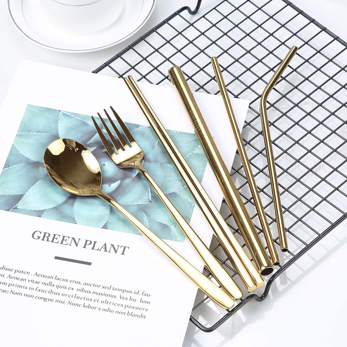 Portable Cutlery Set Travel Camping Home Office Tableware Bulk with Reusable Stainless Steel Cutlery Set Including Cutlery Spoon Straw Chopsticks Cleaning Brush Eco-friendly Gold