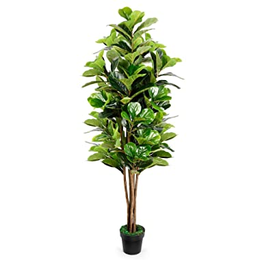 TUSY Artificial Plants Fake Tree, Fiddle Leaf Fig Tree 6 Feet, Artificial Trees for Home Decor or Office Indoor Outdoor Decorations