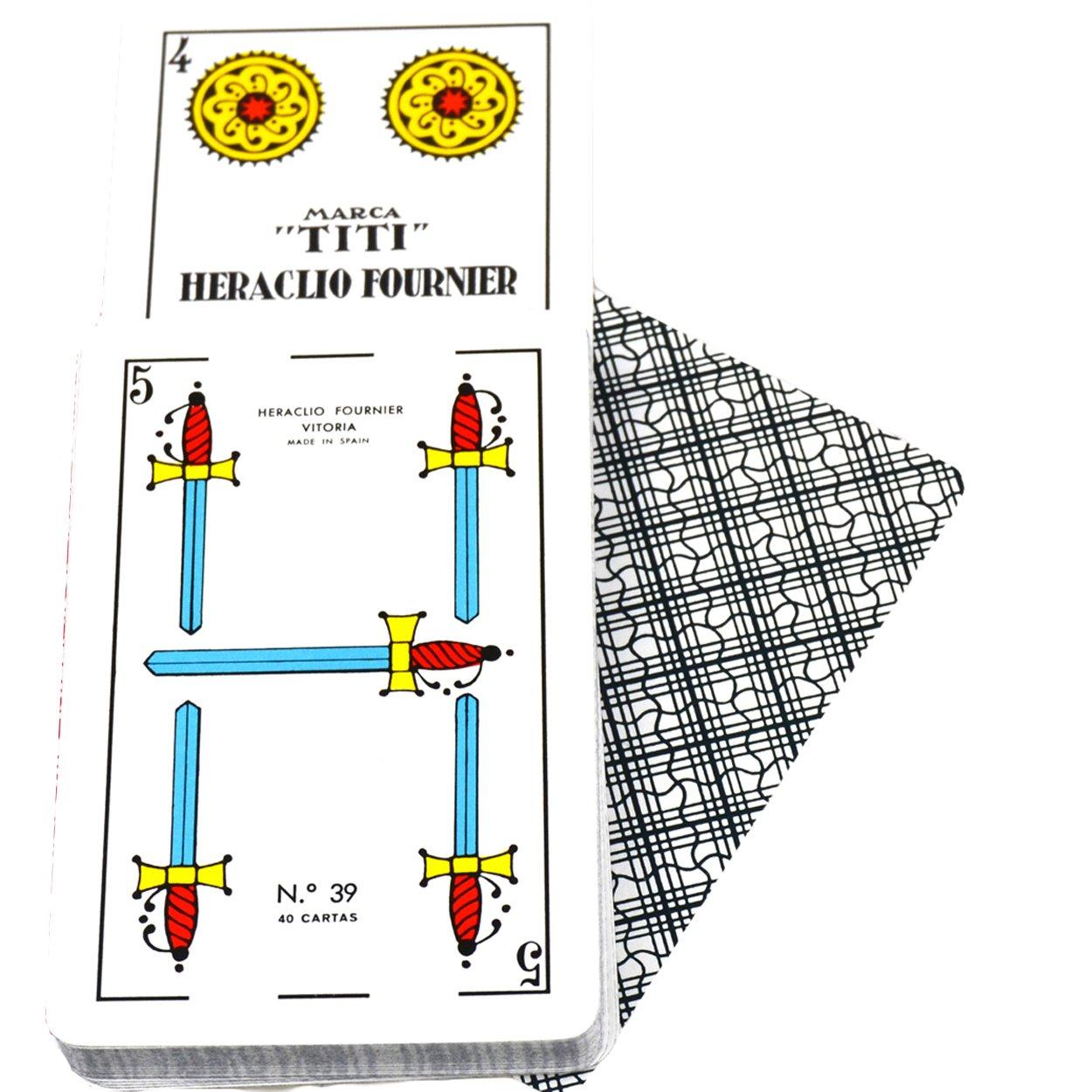Deck of 40 Fournier Spanish Playing Cards Catalan Face Titi #39 Cello Case - Baraja Española Catalana