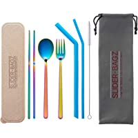 Travel Cutlery Set Rainbow Reusable Silicone Straws Eco Friendly for Camping, Picnics, Work Lunches, Lunchbox, Food Halls and Your Handbag. Reduce Single use Plastics Gold Rose Pink