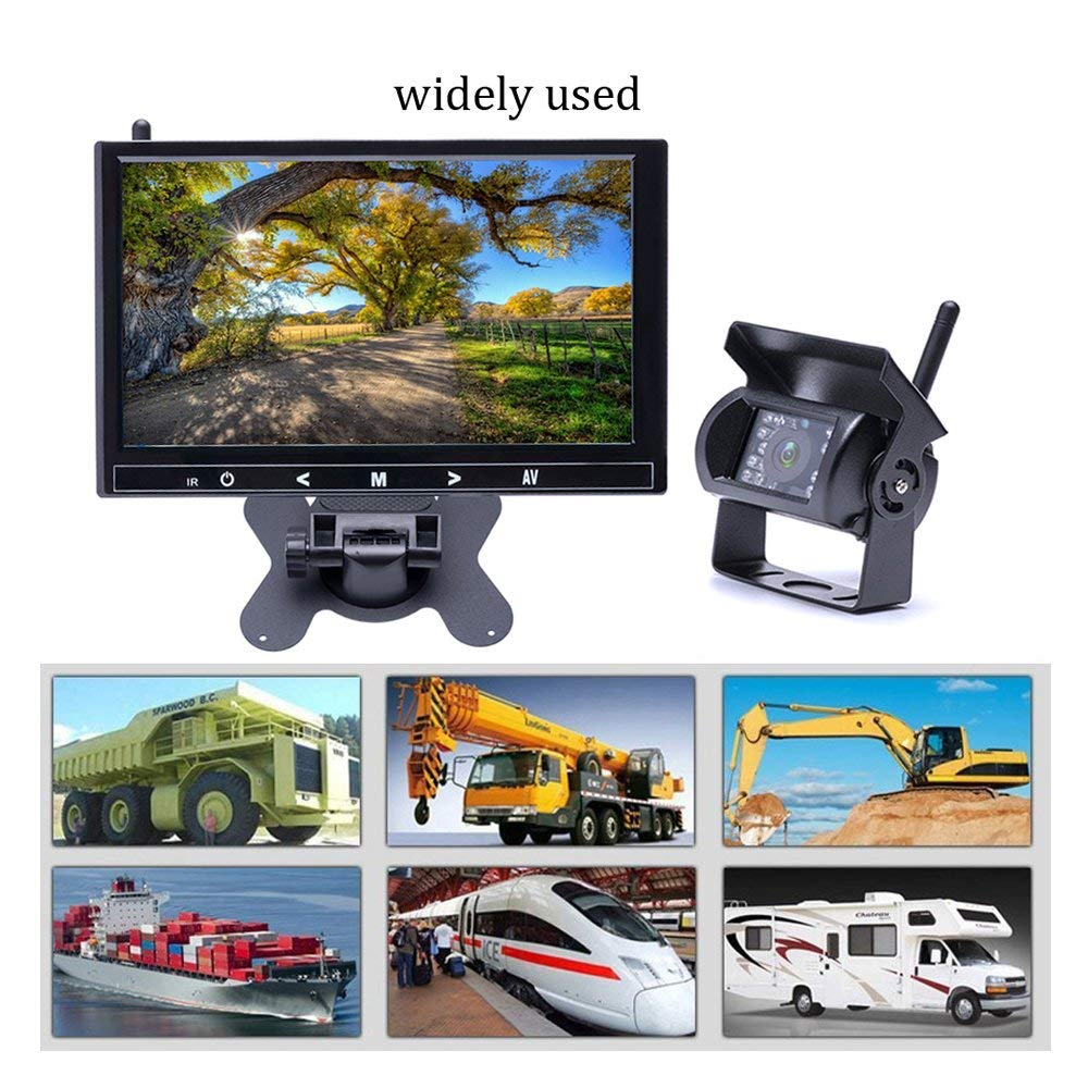 4 channel wireless backup camera RV Caravan Camecho Wireless Backup Camera 9 inch HD Full Color Monitor 18 IR Night Vision Waterproof Built-in Wireless Signal Chips Rear Camera for Trailer //Truck 5th-wheel