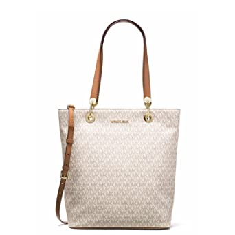 8fcc47f4ac41 Image Unavailable. Image not available for. Color  Michael Kors Raven  Ladies Large Signature Twill Vanilla Acorn Tote 30S7GRXT3V150