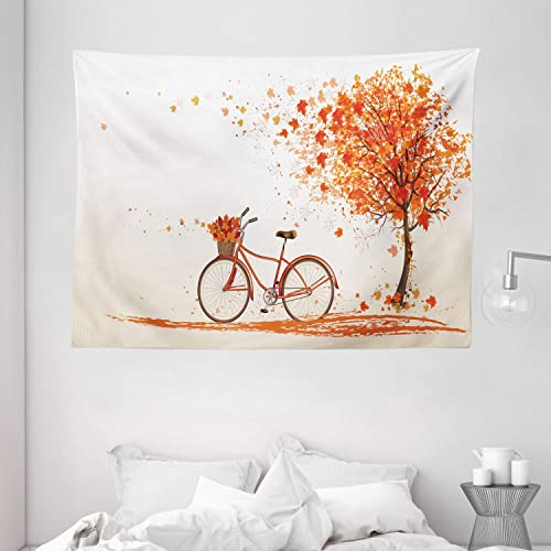 Ambesonne Bicycle Tapestry, Autumn Tree with Aged Old Bike and Fall Tree November Day Fall Season Park Nature Theme, Wide Wall Hanging for Bedroom Living Room Dorm, 80 X 60 , Orange