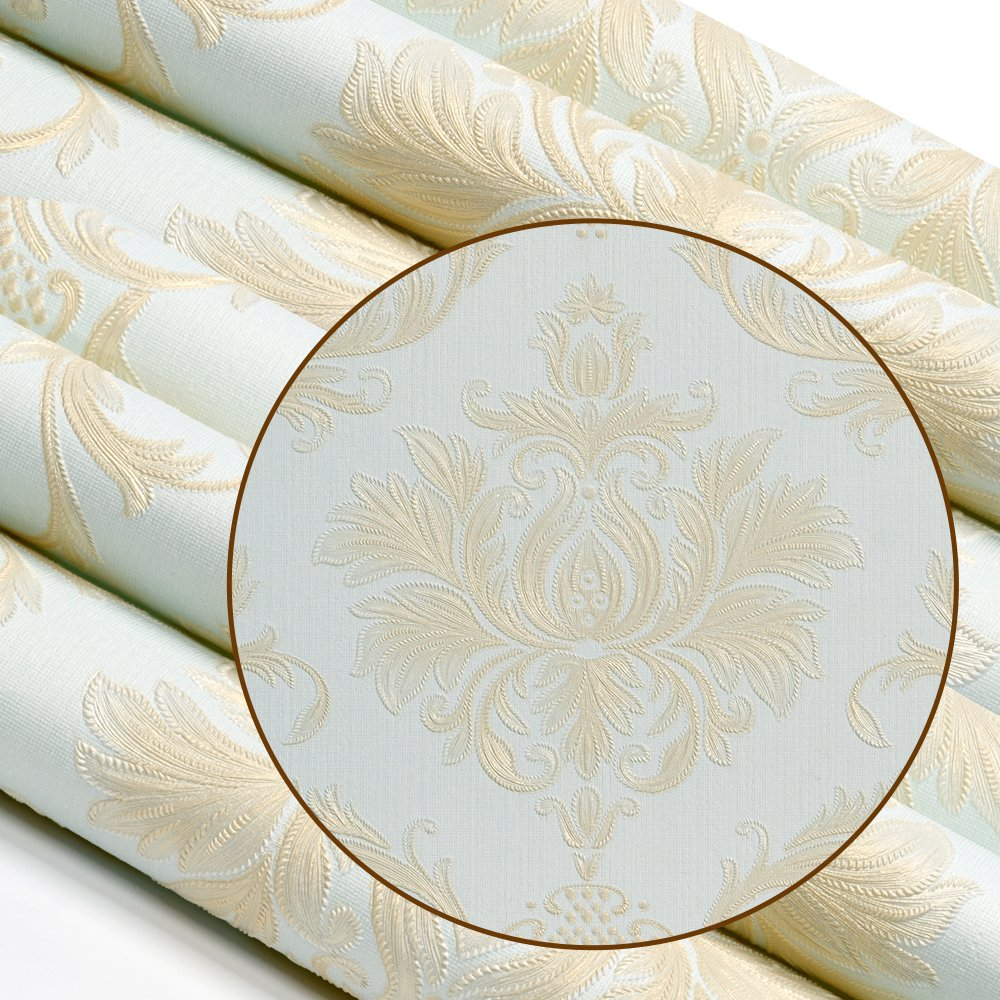 Wopeite Damask European Vintage Luxury Wallpaper Gold Embossed Textured Paper Non-Woven Home Decor for Living Room Bedroom TV Backdrop light Blue by Wopeite (Image #5)