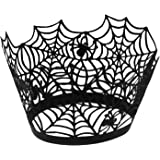 UNIQLED Pack of 50 Laser Cut Bake Cake Hollow Paper Cups Liner Cupcake Wrappers Baking Cup Muffin Holder Case for Halloween Fancy Party Decoration (Black Spiderweb)