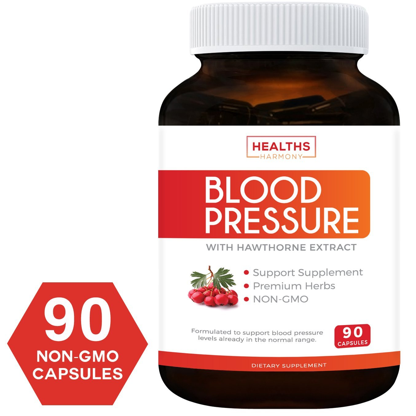 Blood Pressure Support Supplement (Non-GMO) – Premium Natural Herbs, Vitamins & Berries – High Dosage of Hawthorn Extract – Berry Lower Pills – 90 Capsules