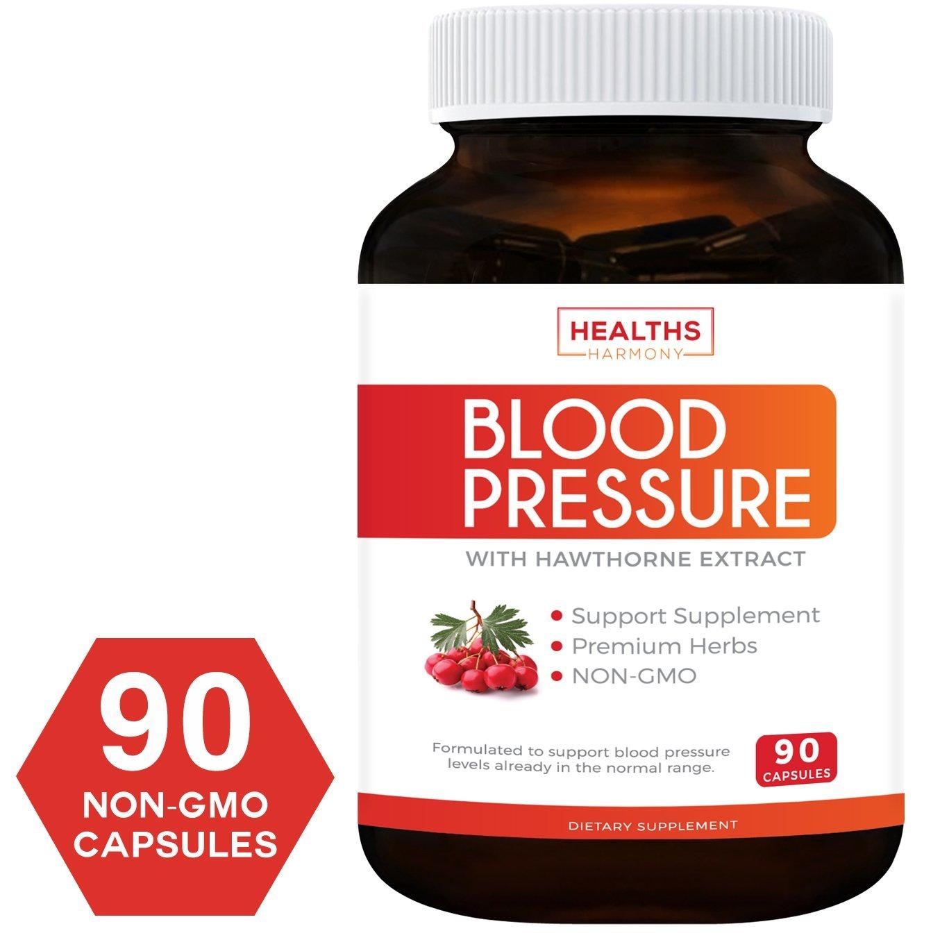 Blood Pressure Support Supplement (Non-GMO) – Premium Natural Herbs, Vitamins & Berries – High Dosage of Hawthorn…