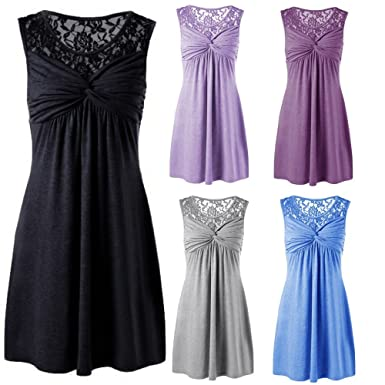 d10a199052f Amazon.com  vermers Women Summer Solid Sexy O Neck Sleeveless Lace Floral  Patchwork Bow Dress Party  Clothing