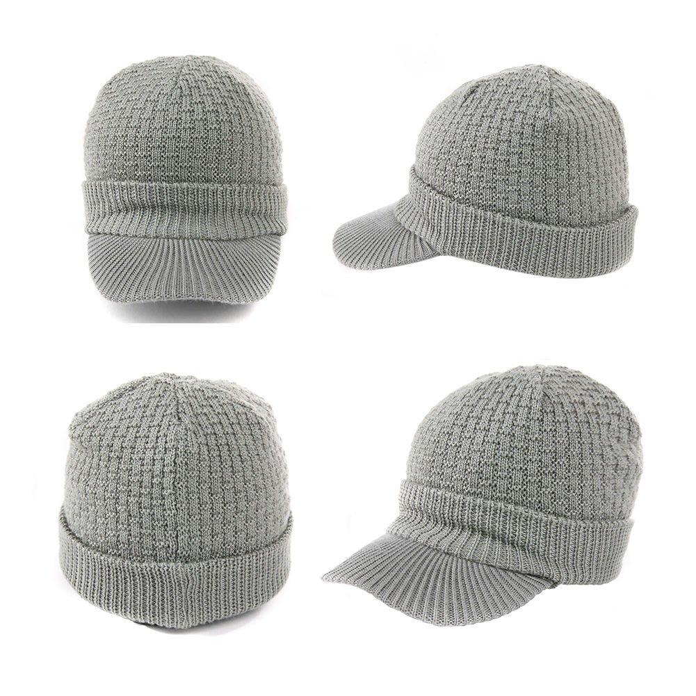 Siggi Wool Knit Visor Beanie Winter Hat /& Scarf Sets Fleece Mask Neck Warmer for Men