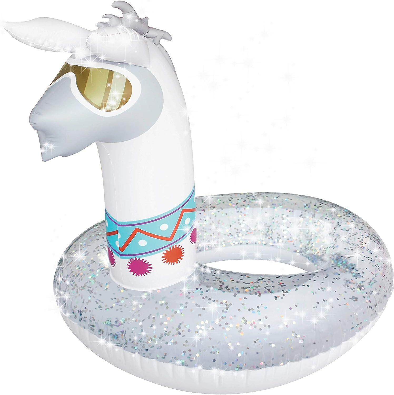 Splash Buddies Llama Pool Float Glitter Inflatable Swim Ring -- Fun Beach and Water Toy Lounge for Kids, Adults Alike