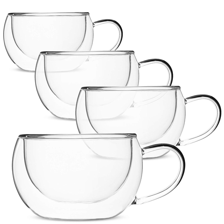 BTäT- Insulated Coffee Cups, Set of 4 (8 oz, 240 ml), Double Wall Glass Tea Cups, Glass Cups, Glass Mug, Glass Coffee Cups, Latte Cups, Latte Mug, Clear Mugs, Glass Cappuccino Cups, Glass Coffee Mugs
