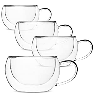 BTäT- Insulated Coffee Cups, Set of 4 (8 oz, 240 ml), Double Wall Glass Tea Cups, Glass Cups, Glass Mug, Glass Coffee Cups, Latte Cups, Latte Mug, Clear Mugs, Glass Cappuccino Cups, Glass Coffee Mugs