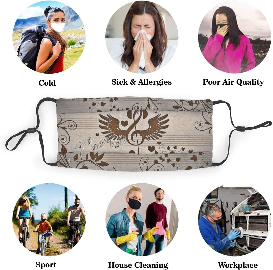 Kids Adult Outdoor Activities Music Notation M-A-S-Ks Reusable Washable For Smoke Exhaust Gas Pollen Allergy Pollution Anti Dust Pet Dander PM2.5 M/àsk Activated Carbon With Replaceable Filters