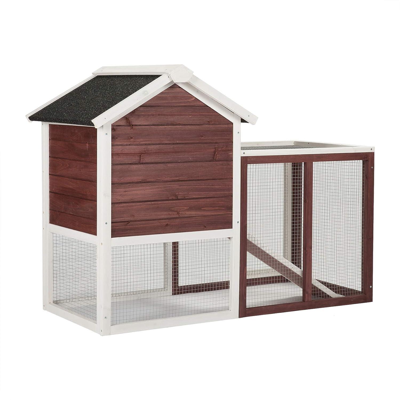 Conejera de Mascotas Casa para Conejito de Madera en Color Auburn y Blanco para Patio con Escalera para Animales Pequeños, Hutch de Conejo de 2 Plantas: ...