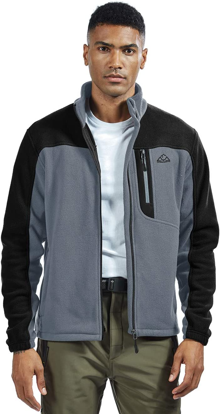 donhobo Mens Winter Warm Polar Fleece Jacket Stand Collar Full-zip Coats Outdoor Hiking Jacket