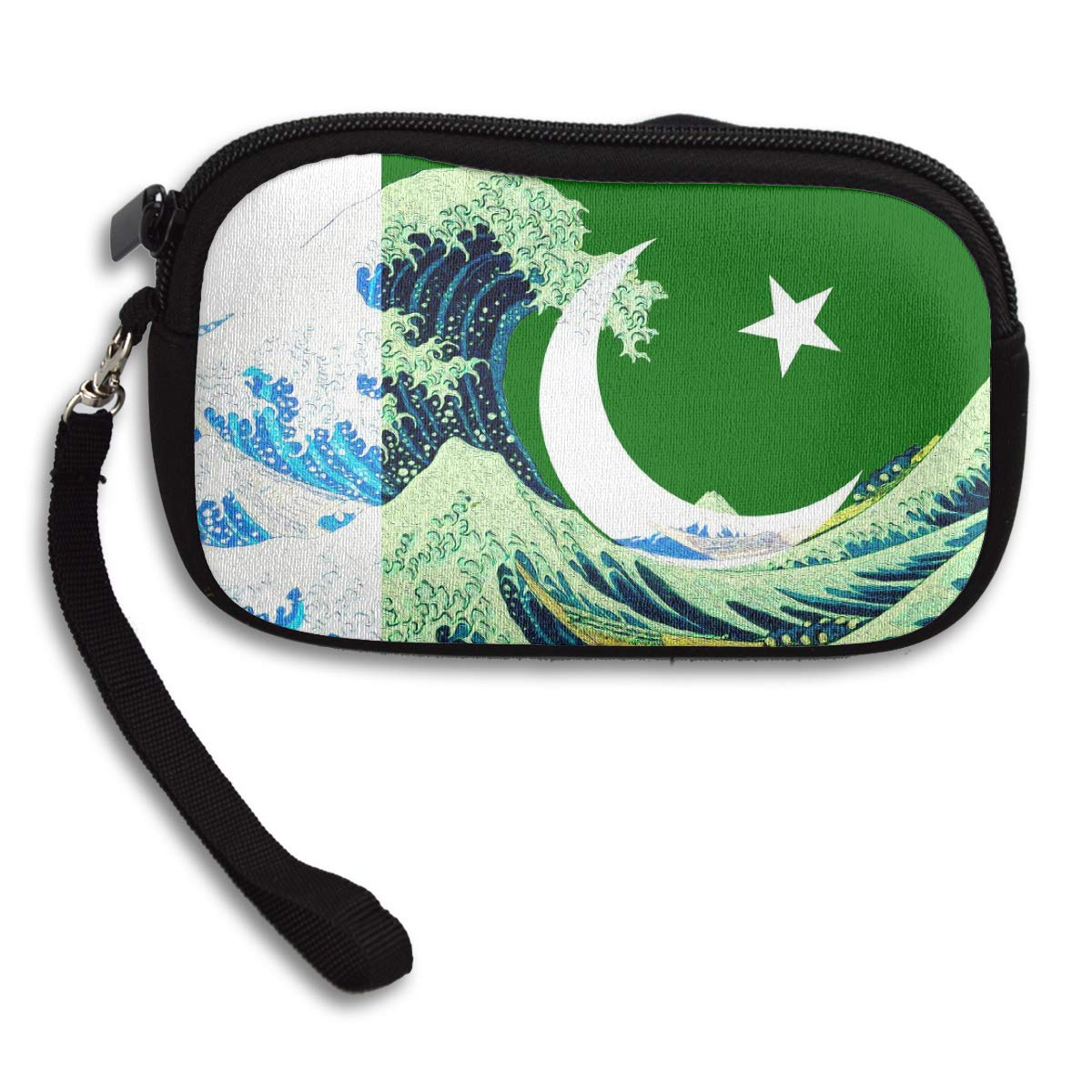 Coin Purse Pakistan Flag And Wave Off Kanagawa wallet change Purse with Zipper Wallet Coin Pouch Mini Size Cash Phone Holder