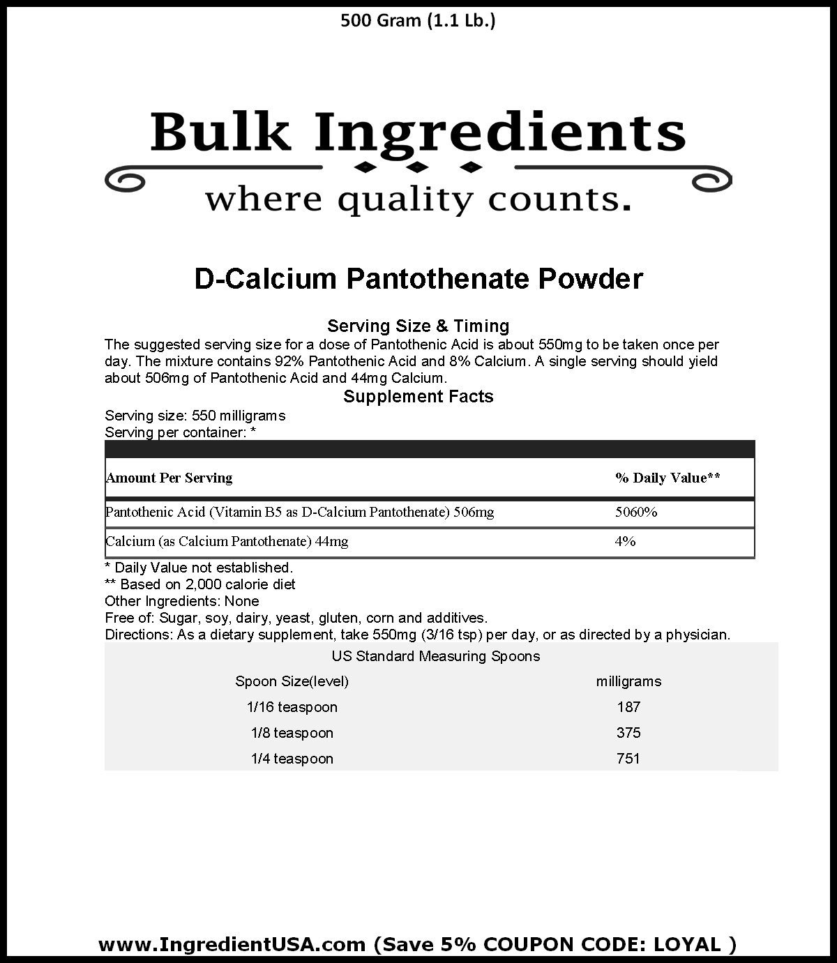 Amazon.com: Bulk ingredientes Suplementos de Vitamina B5 ...