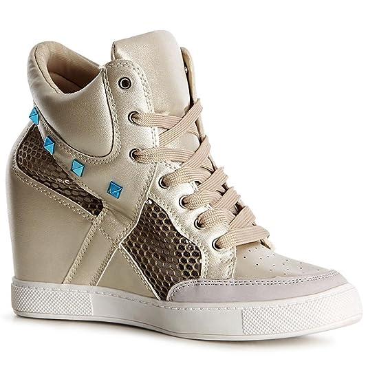 topschuhe24 1118 Damen Sneaker Keilabsatz Stiefeletten Hidden Wedges, Farbe:Weiß;Größe:40