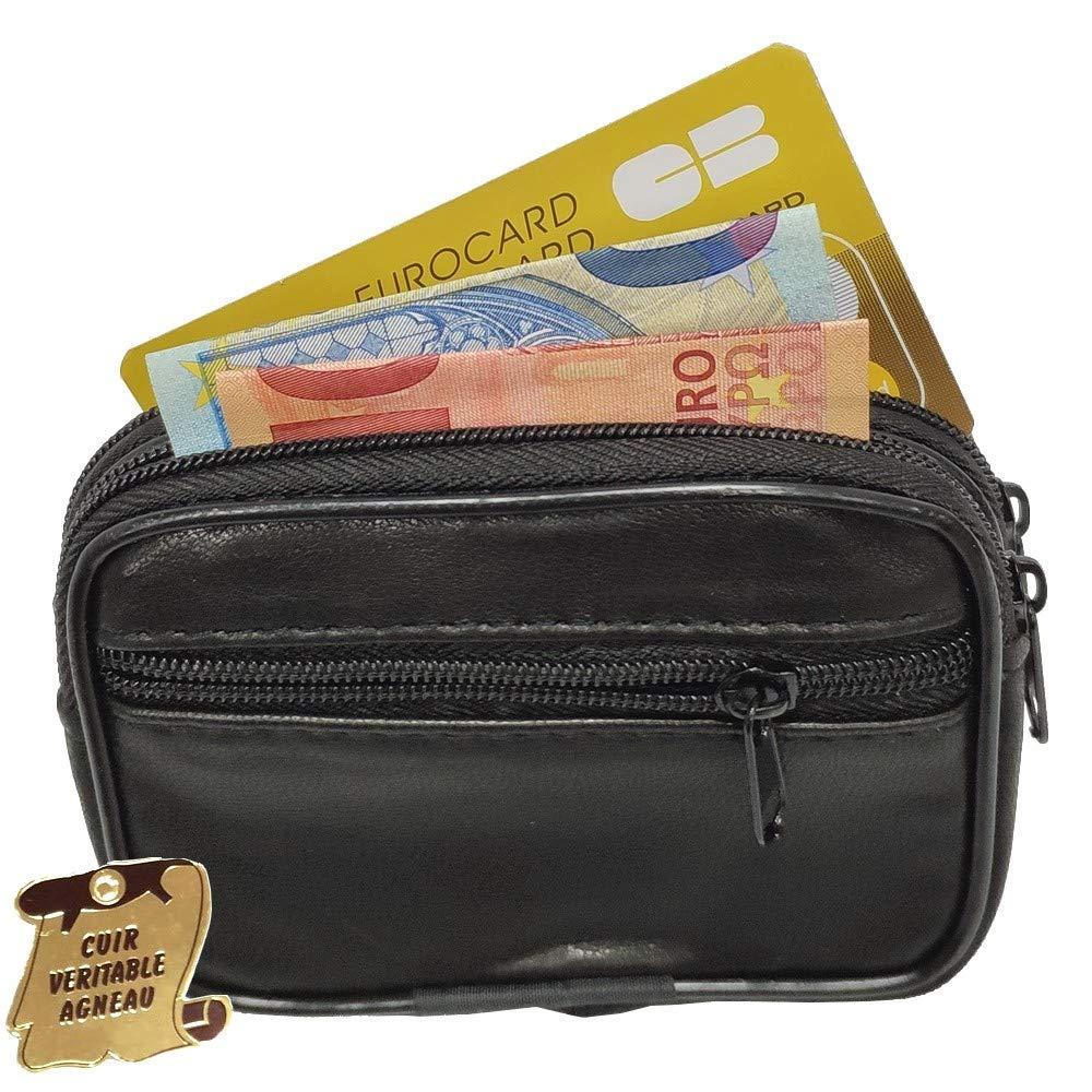 LOLUNA/® Petit Porte Monnaie Cuir v/éritable Double Compartiments Format Carte cr/édit avec Passant Ceinture Noir 3 Fermetures Sangle pour Homme et Femme