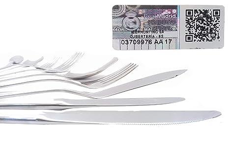 Cubertería Real Madrid - Set de 54 piezas cubiertos en acero inoxidable y calidad 18/10.: Cubertería: Amazon.es: Hogar