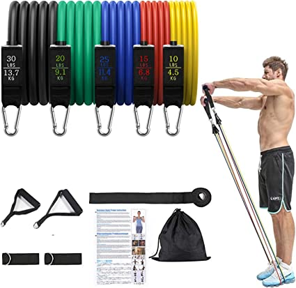 Resistance Bands Exercise Set 11pc 5 Tubes With Handles Door Anchor Ankle Strap