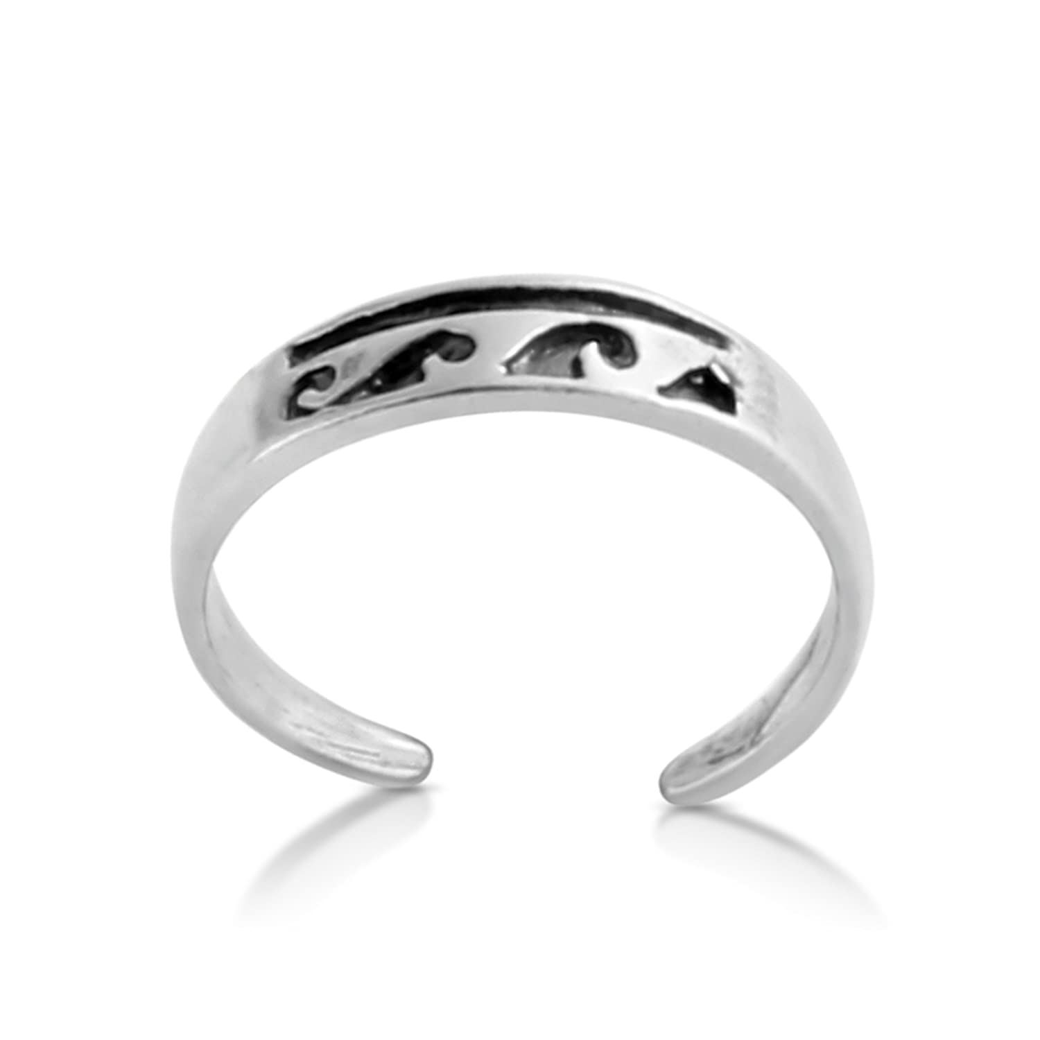 Belcho USA Sterling Silver Handcrafted Stylized Waves Adjustable Toe Ring TR0313