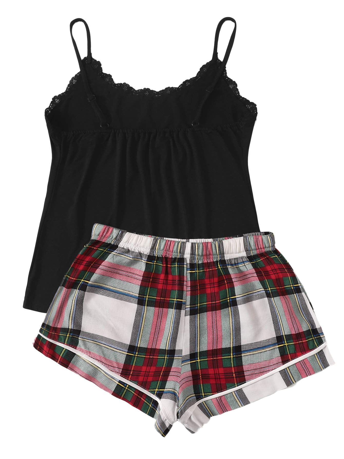 SweatyRocks Women's Sleepwear Set Letter Print Cami Top and Elastic Waist Short Pajama Set