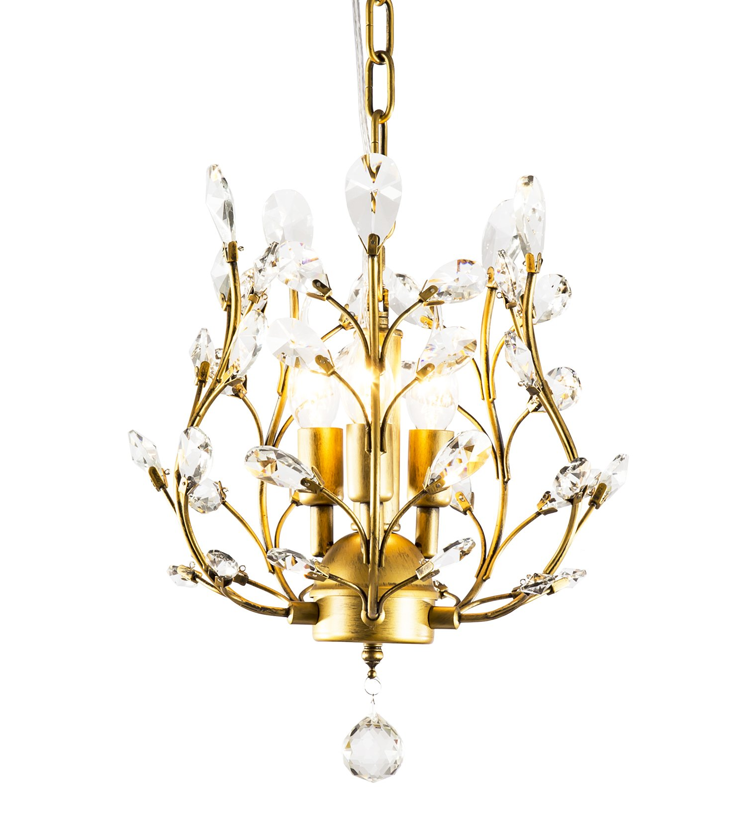 LuFun Modern Crystal Chandeliers,Crystal Pendant Light,Chandelier Lighting Fixtures,Ceiling Light for Living Room Bedroom Restaurant Hallway (Bronze)