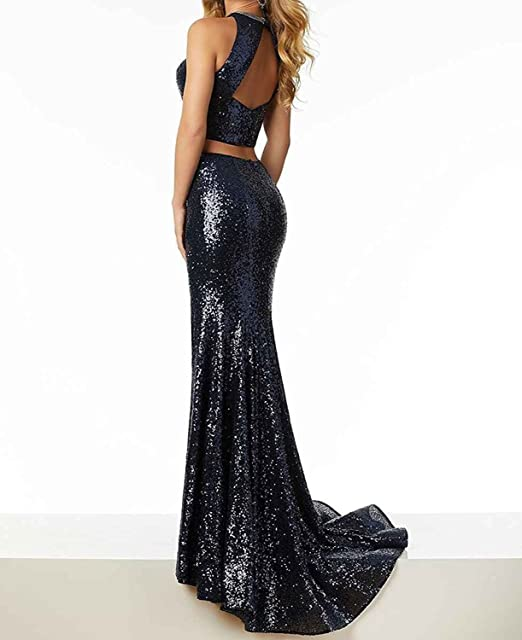 1e4df4a7626e PFdressmaker Black Sexy New Arrival Scoop Sequin Front High Slit Two Piece  Crop Top Formal Prom