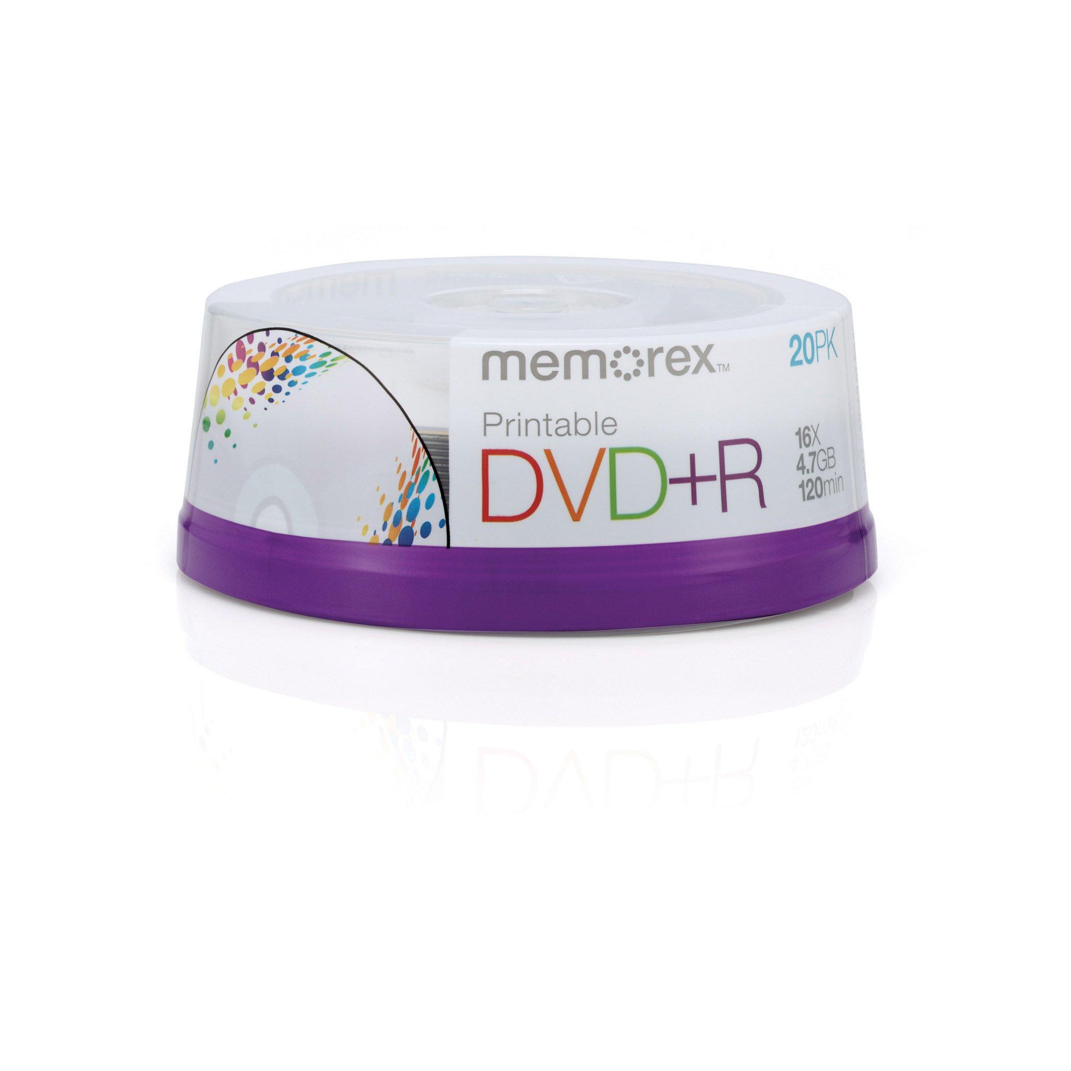 Memorex DVD+R 16x 4.7GB 20 Pack Spindle Printable