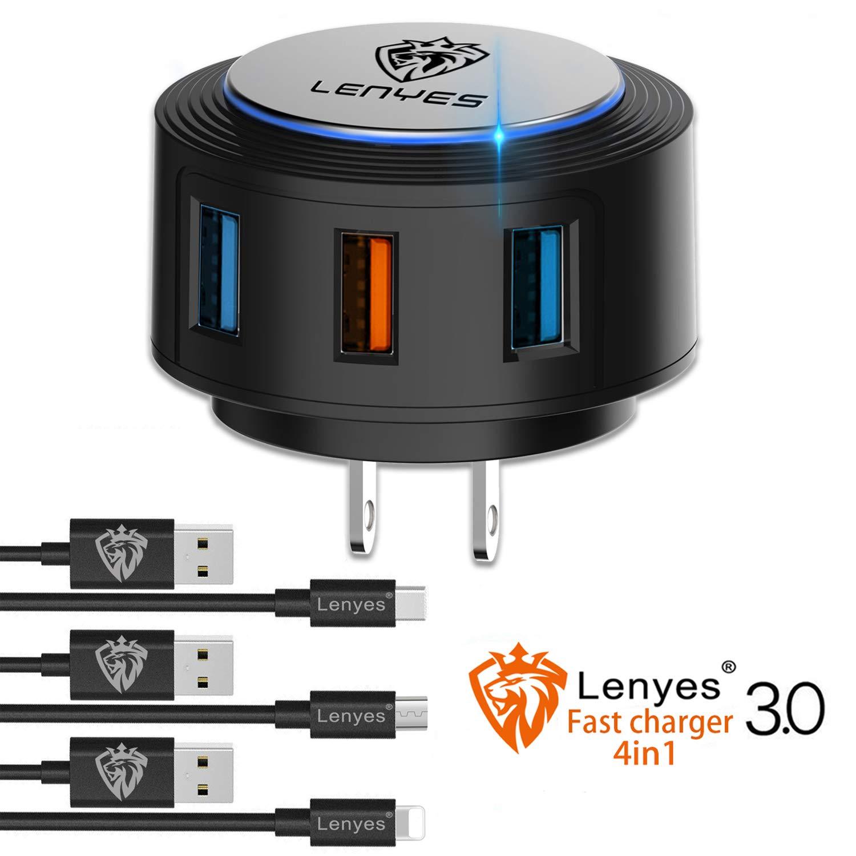 Amazon.com: Lenyes cargador rápido, 22 W USB enchufe en ...
