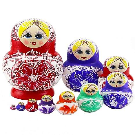 Moonmo 10pcs Beautiful Handmade Wooden Russia Nesting Dolls Gift Russian Wishing 10 Different Patterns