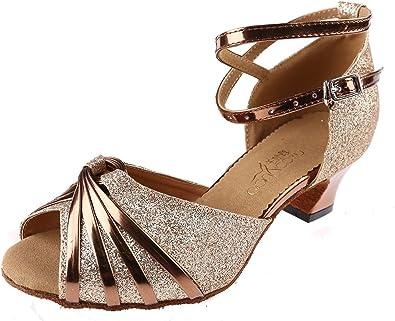 Salabobo AQQ-6126 Womens Latin Tango Ballroom 3 Or 3.4 Custom Heel Dance Shoes