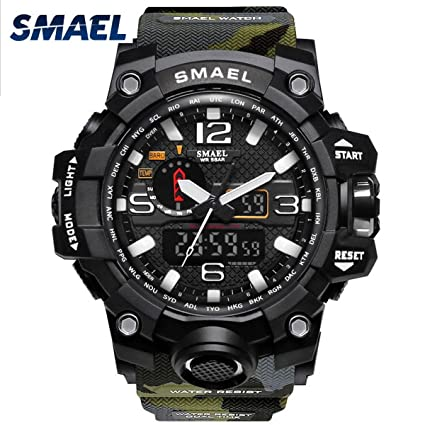 IBANSE Mens Military Sport Digital Waterproof Watch Dual Electronic Quartz Movement Green Band with Back Light