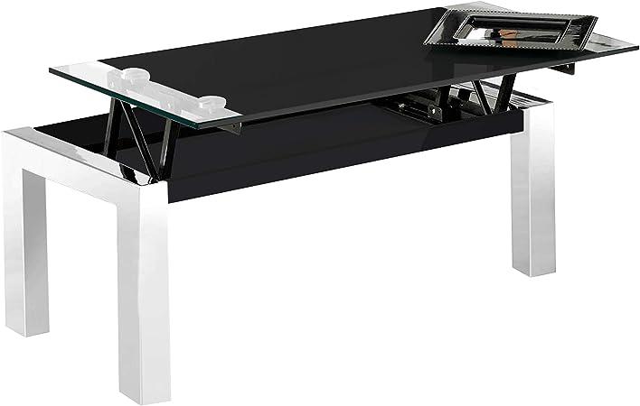 Adec - Universal, Mesa de Centro Fija de Cristal Templado y Estructura metálica, Acabado en Color Negro,