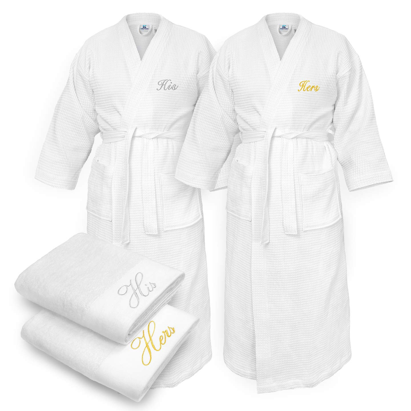 Kaufman - Terry Cloth Bathrobes 100% Cotton - His and Hers Embroidered Waffle Kimono Set of Robes with His and Hers White Towel Set 30''x58'' 4-PK